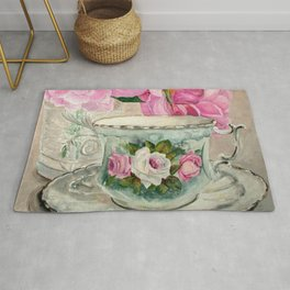 Hand Painted China Tea Cup and Roses Rug
