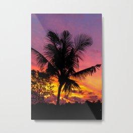 Sunset and Palmtree in Bali Metal Print