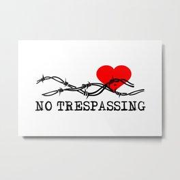 No Trespassing Black On White Horizontal Metal Print