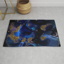 Gold and Indigo Malachite Marble Rug