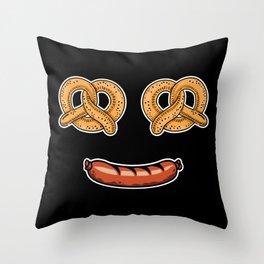 Oktoberfest Pretzel Sausages Smile Throw Pillow