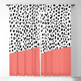 Dalmatian Spots with Coral Stripe (Pantone Living Coral) Blackout Curtain