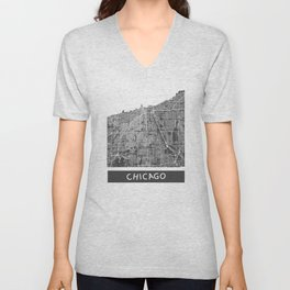 Chicago map orange Unisex V-Neck