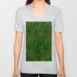 Field of Shamrocks Digital Art Pattern for Saint Patrick's Day Unisex V-Neck