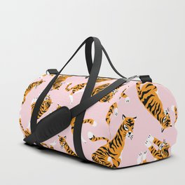 Cute tiger in the tropical forest hand drawn on pink background illustration Duffle Bag