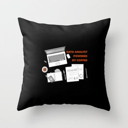 Data Analyst Powered By Coffee Throw Pillow