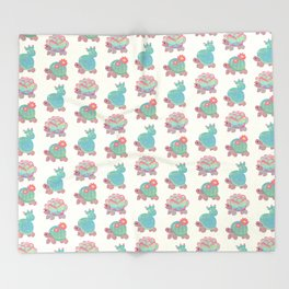 Cactus tortoise Throw Blanket