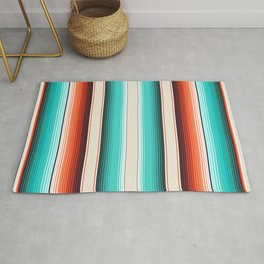 Navajo White, Turquoise and Burnt Orange Southwest Serape Blanket Stripes Rug