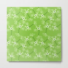 Green Neurons Metal Print