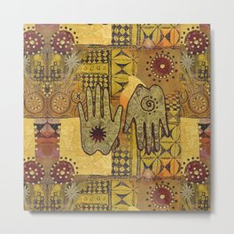 African Ethno Pattern Hand Symbol Metal Print