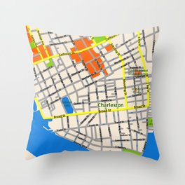 Map of Charleston, SC Throw Pillow