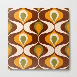 Retro 70s ovals op-art pattern brown, orange Metal Print