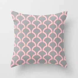 Classic Fan or Scallop Pattern 490 Pink and Gray Throw Pillow