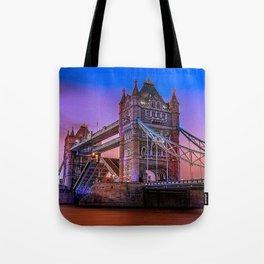 Beautiful Tower Bridge Across Thames At Romantic Evening Red Ultra HD Tote Bag