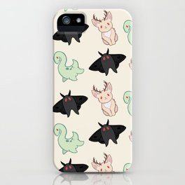Cryptid Mothman Jackalope Nessie Lochness Pattern iPhone Case