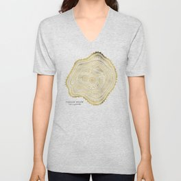 Peachleaf Willow – Gold Tree Rings Unisex V-Neck