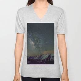 Watercolor Nightscape Milky Way Ute Trail, Rocky Mountain National Park, CO Unisex V-Neck