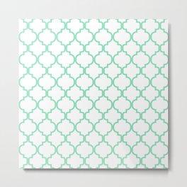 Moroccan Trellis (Mint & White Pattern) Metal Print