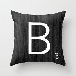 Black wood scrabble B Throw Pillow