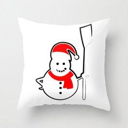 Rowing Santa Snowman Throw Pillow