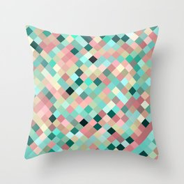 candace - mint green and petal pink mosaic  design Throw Pillow
