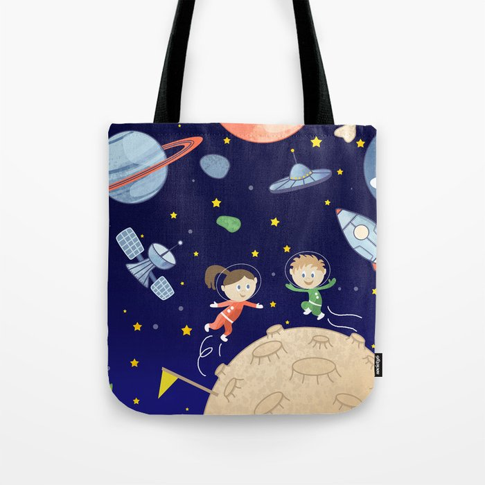Space kids astronauts planets asteroids and spaceships Tote Bag