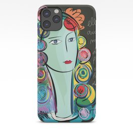 Girl with Flowers and Fruits in her hair iPhone Case
