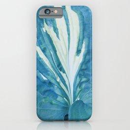 Single Blue Green Hosta Leaf iPhone Case
