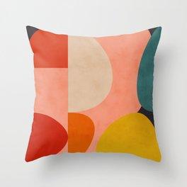 geometry shape mid century organic blush curry teal Throw Pillow