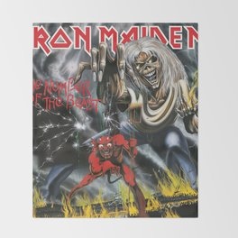 The Number of the Beast - Iron - Remastered Edition - Maiden Throw Blanket