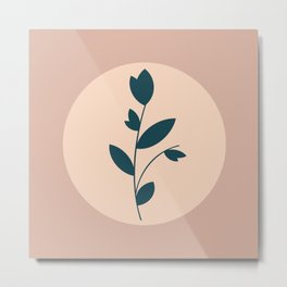 Botanical Abstract - Neutral Rose Metal Print