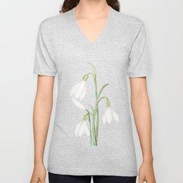 angelic snowdrop flowers watercolor Unisex V-Neck