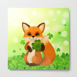 Fluffy little fox with 4-leaf clover Metal Print