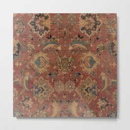 Flowery Boho Rug IV // 17th Century Distressed Colorful Red Navy Blue Burlap Tan Ornate Accent Patte Metal Print