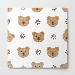 Brown doodle paw print and teddy bear Metal Print
