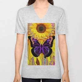 BLACK BUTTERFLY ON YELLOW SUNFLOWER ABSTRACT Unisex V-Neck