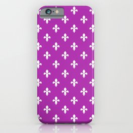 Fleur-de-Lis (White & Purple Pattern) iPhone Case