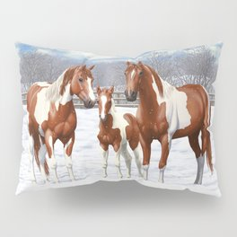 Chestnut Pinto Paint Horses In Snow Pillow Sham