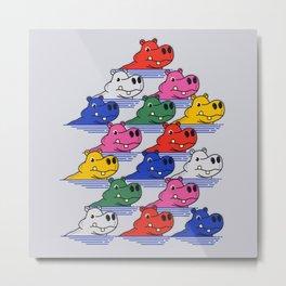 Hippos pattern no2 Metal Print
