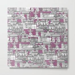 Paris toile raspberry Metal Print