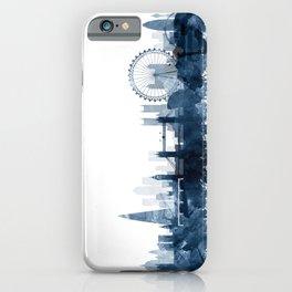London City Skyline Blue Watercolor by zouzounioart iPhone Case