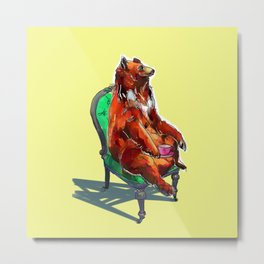 animals in chairs #20 The Bear at Tea Metal Print