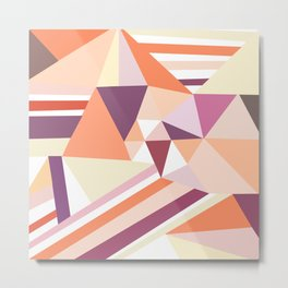 Modern abstract coral pink geometrical pattern Metal Print