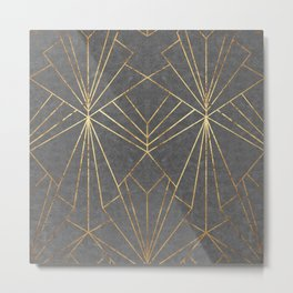 Art Deco in Gold & Grey - Large Scale Metal Print