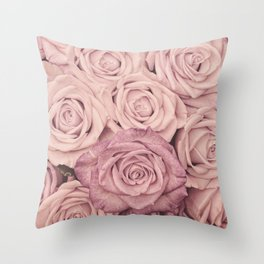 Some People Grumble - Pink Rose Pattern - Roses Garden Throw Pillow