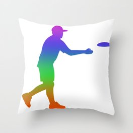 Frisbee Golf  Rainbow Silhuette Throw Pillow