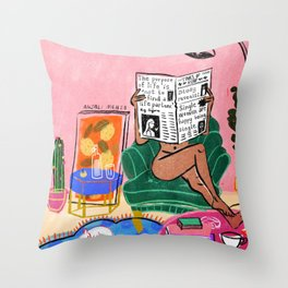 Single woman Throw Pillow