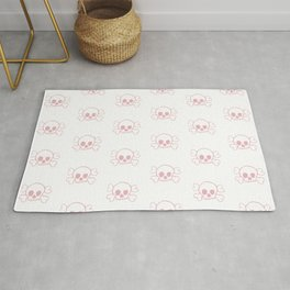 Coral Skull and Crossbones Print and Pattern Rug