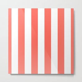 Large Living Coral and White Vertical Cabana Tent Stripes Metal Print