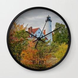 MICHIGAN LIGHTHOUSE AUTUMN UPPER PENINSULA FALL LANDSCAPE Wall Clock